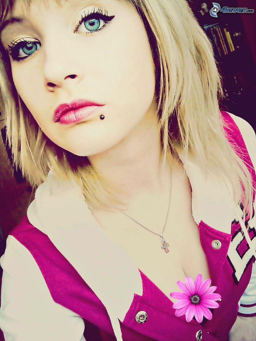 fille avec le piercing, blonde, fleur