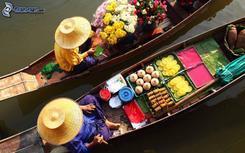 bateaux, chinoises, fleurs