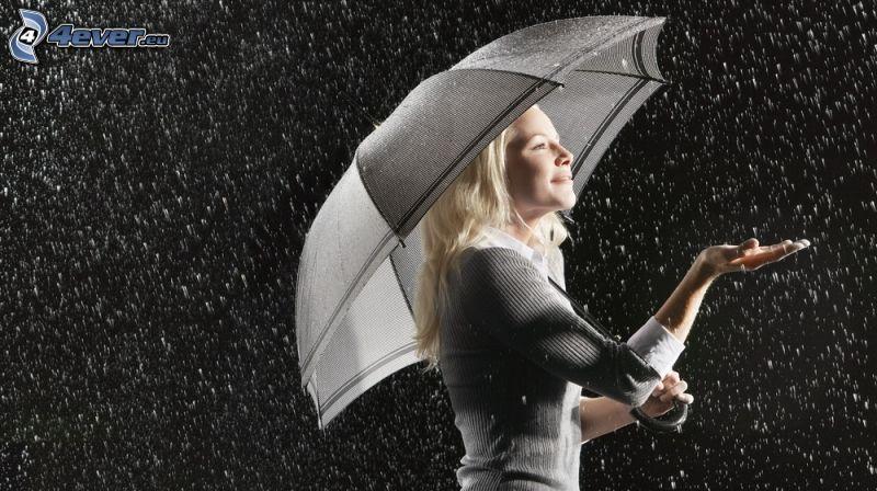 blonde, parapluie, pluie