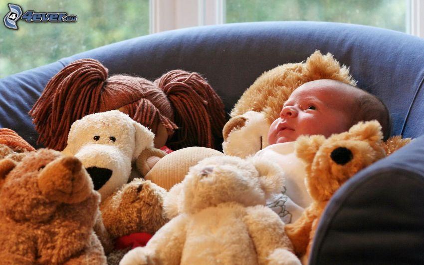 bébé, animaux en peluche