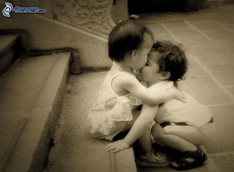 enfants, amour, escaliers, noir et blanc