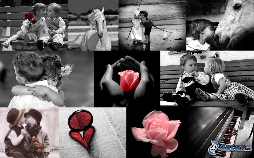 enfants, cœur, rose, amour, collage