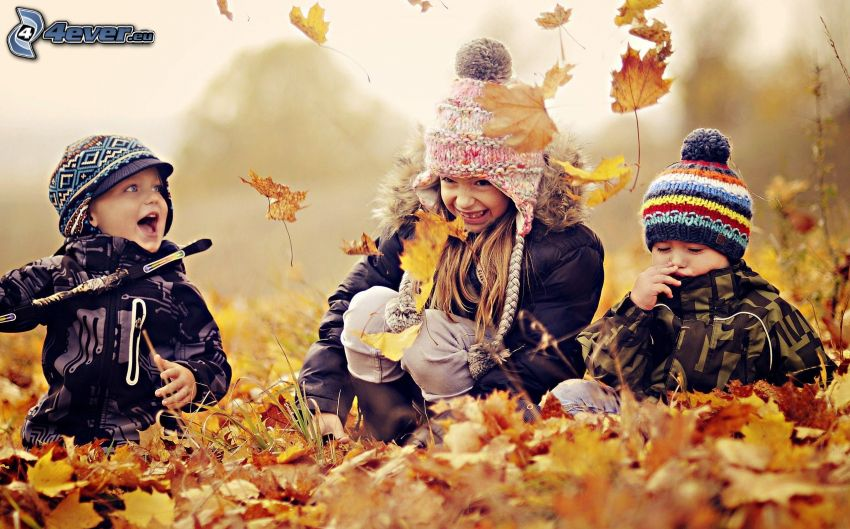 enfants, les feuilles tombées, jeu
