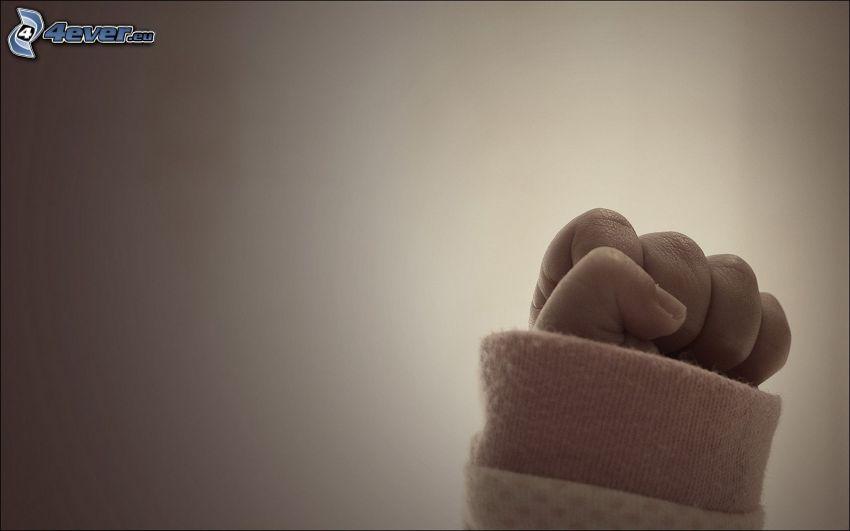 main, poing, bébé