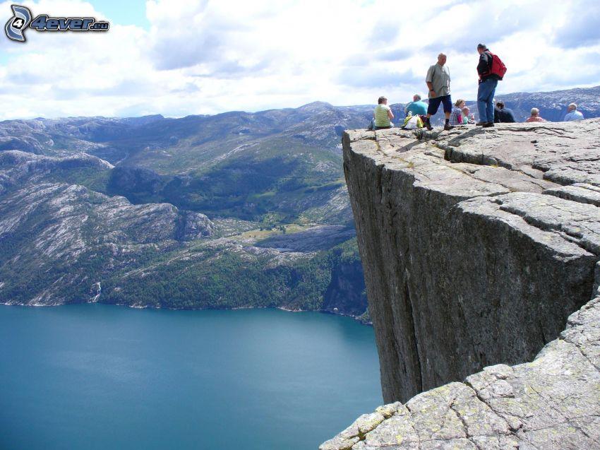 falaise, lac, montagne, falaises côtières