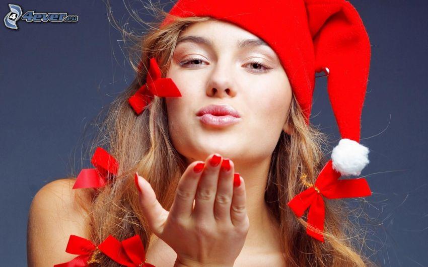 femme, chapeau de Noel