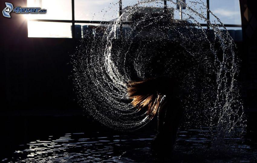 femme, cheveux soufflés, eau, clapoter