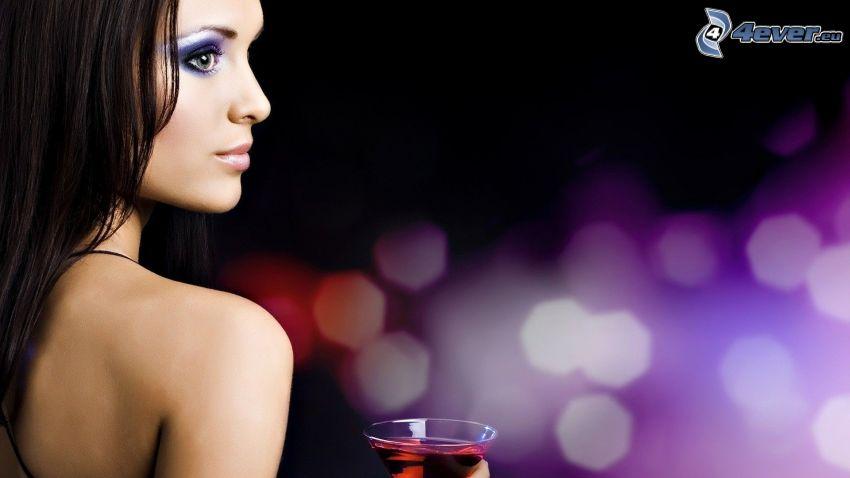 femme, drink