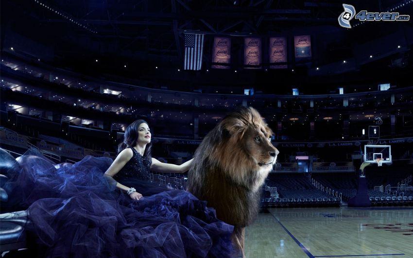 femme, lion