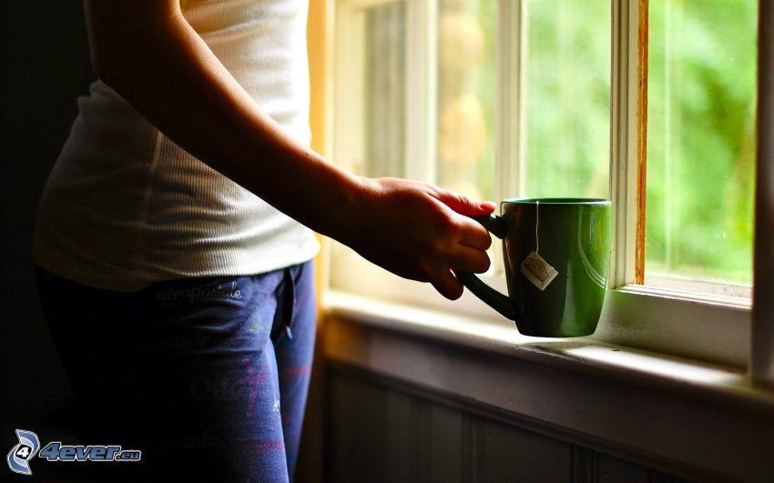 femme, tasse, thé