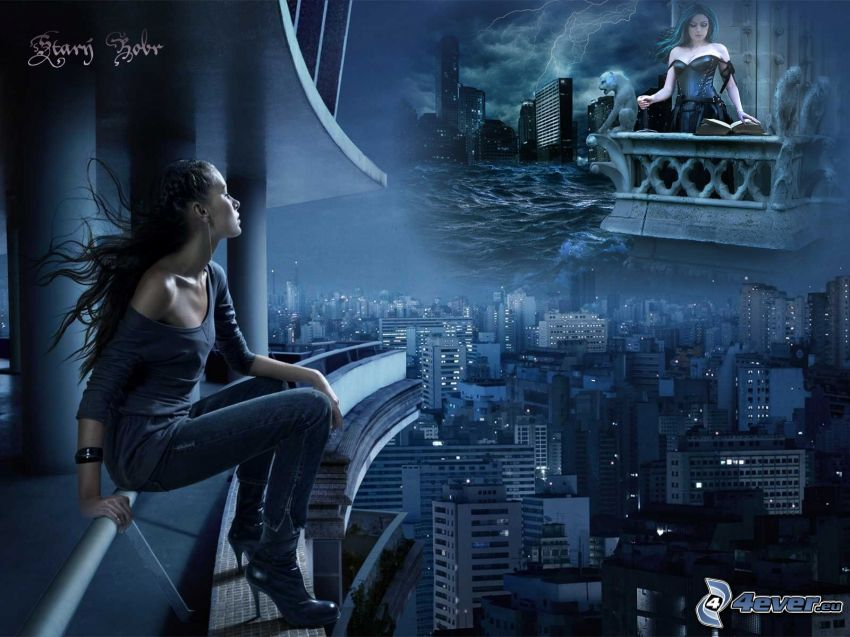 femme, ville, balcon