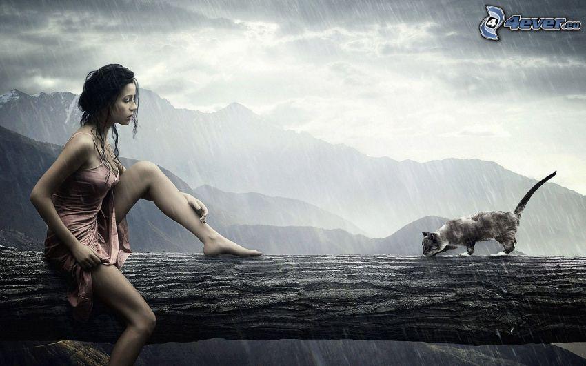 Femme et chat, tronc