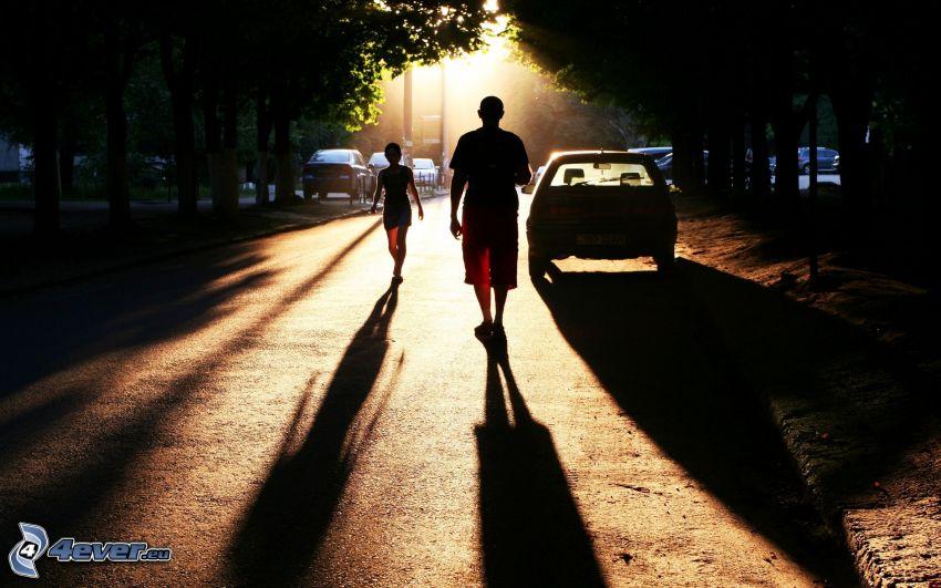 gens, rue, silhouettes