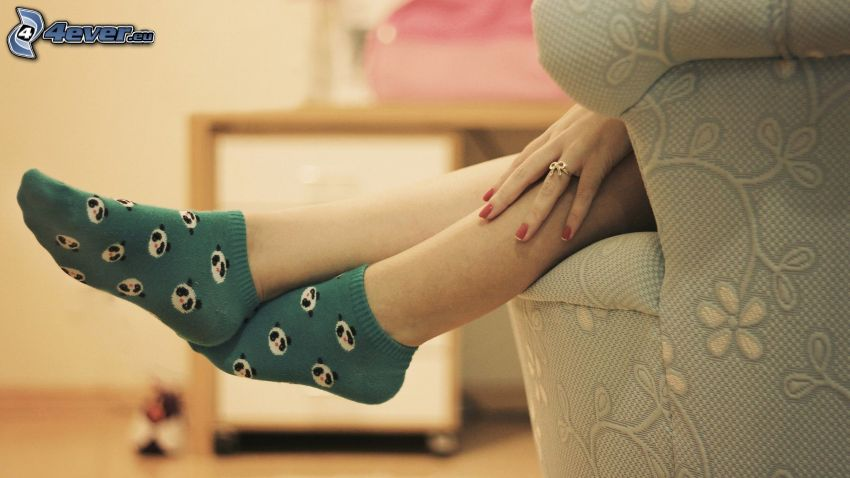 jambes, chaussettes, main, fauteuil