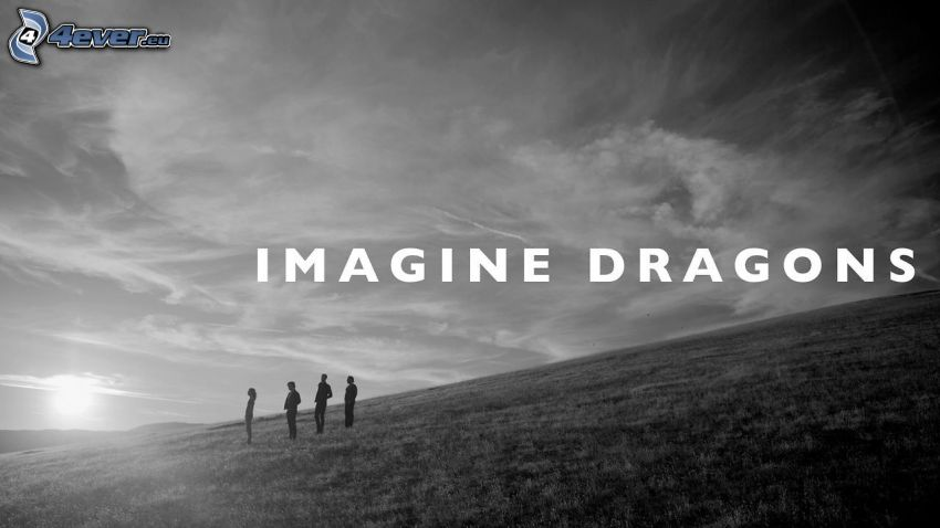 Imagine Dragons, coucher du soleil, silhouettes de personnes