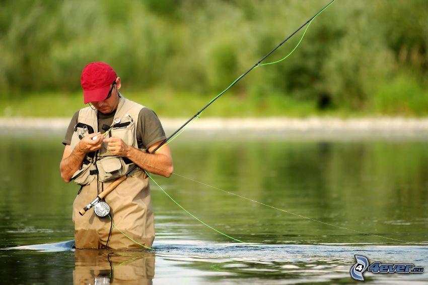 pêcheur, lac