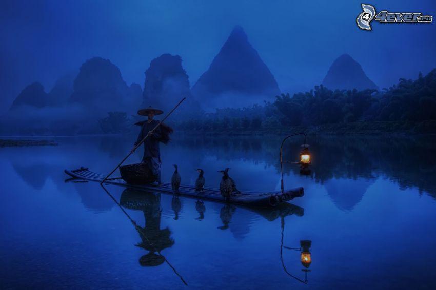 pêcheur, radeau, canards, lanterne, nuit, lac, montagnes, brouillard