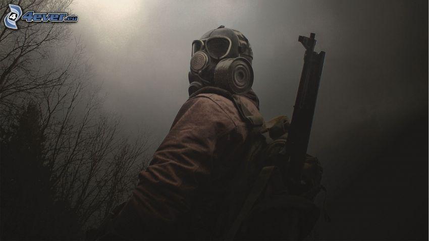 soldat, homme en masque à gaz