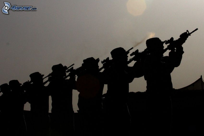 soldats, silhouettes