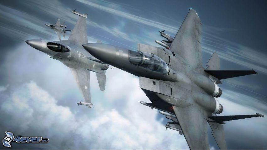 Ace Combat 6, avions de chasse, au-dessus des nuages