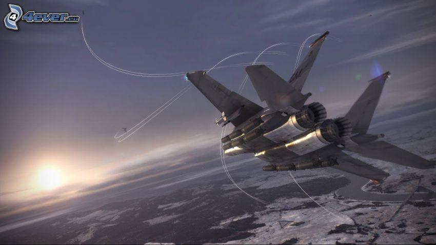 Ace Combat 6, avions de chasse, coucher du soleil