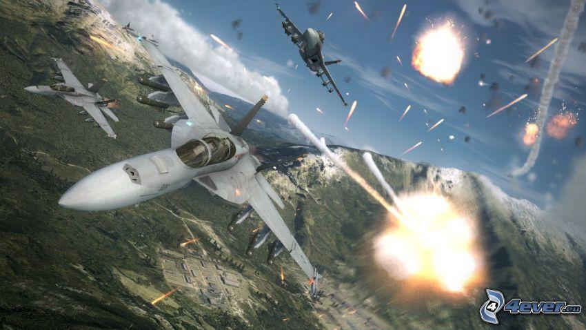 Ace Combat 6, avions de chasse, tir, montagne rocheuse