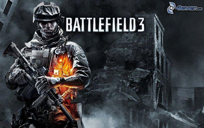Battlefield 3, soldat, guerre, ruines