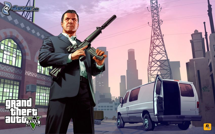 Grand Theft Auto V, van, arme, ville