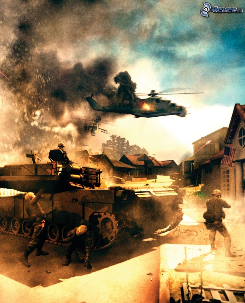 World in Conflict, guerre, char, Hélicoptère militaire, soldats