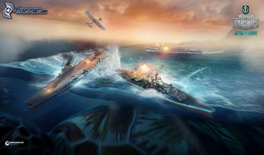 World of Tanks, avion, navires, bataille, monstre