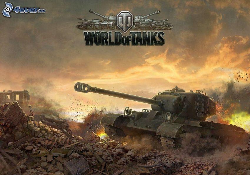 World of Tanks, char, ruines