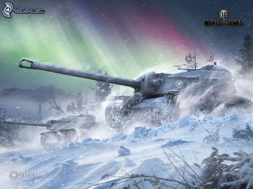 World of Tanks, chars, neige, aurore polaire