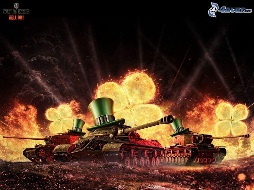 World of Tanks, chars, quatre-feuilles, feu, chapeaux
