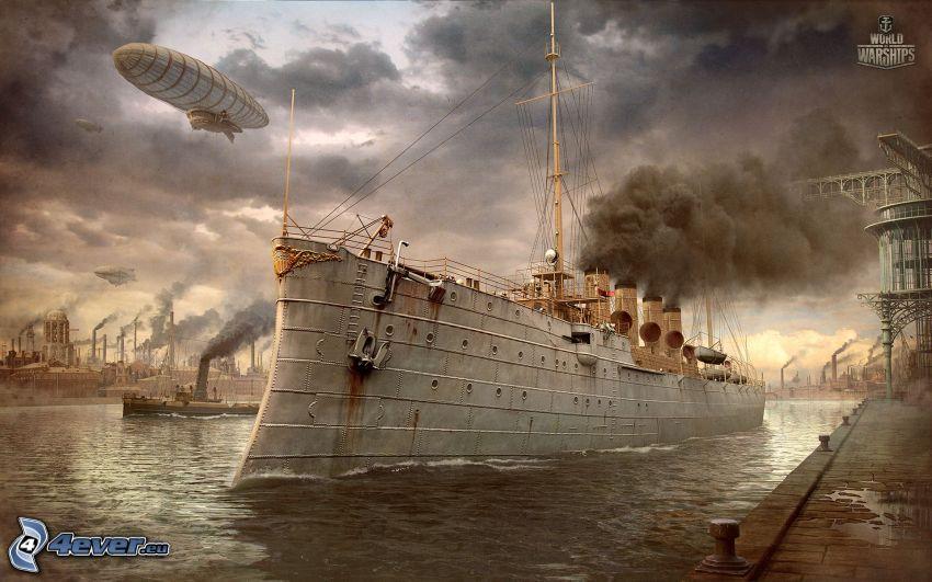 World of Warships, navire, dirigeable