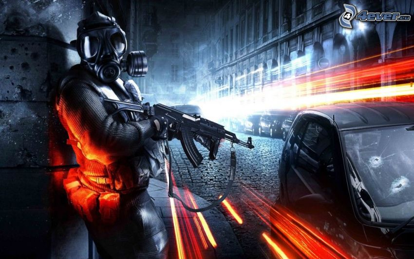 Battlefield 3, homme en masque à gaz