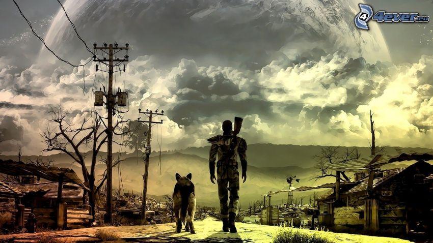Fallout 3 - Wasteland, homme avec un chien