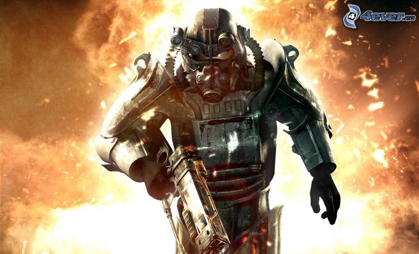 Fallout 3 - Wasteland, homme en masque à gaz, explosion