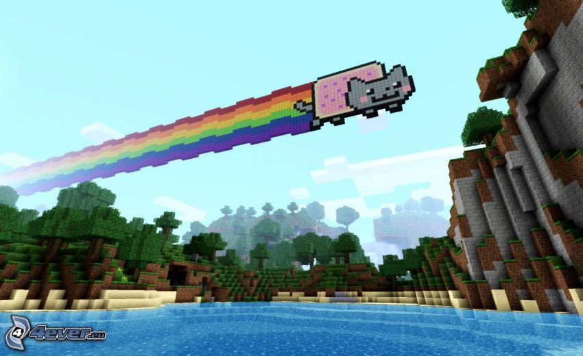 Minecraft, chat, arc en ciel