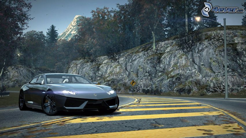 Need For Speed, Lamborghini Estoque, route, rochers