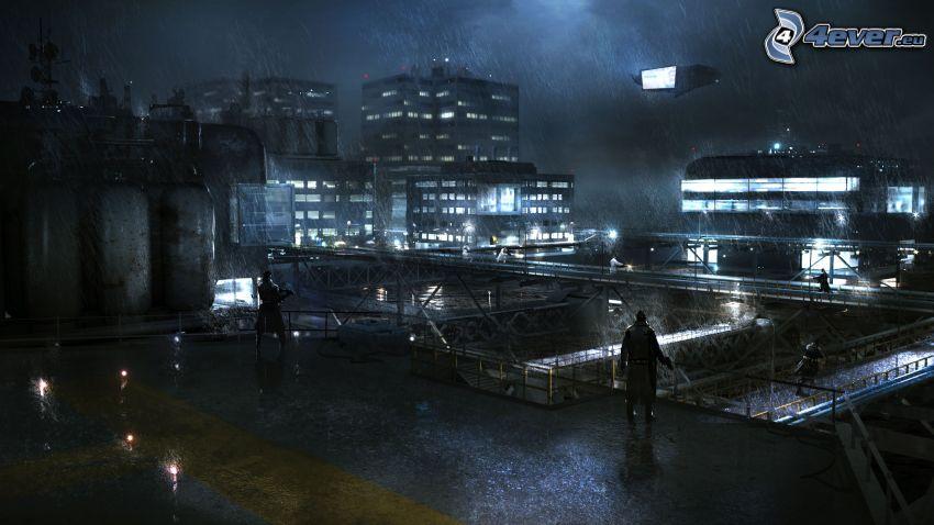 Syndicate, nuit, pluie, bâtiments
