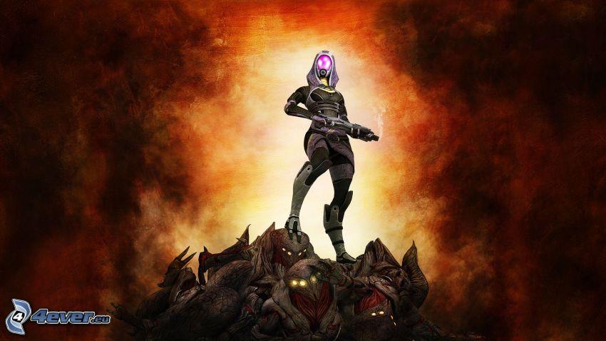 Tali Zorah, Mass Effect 3, guerrier dessiné