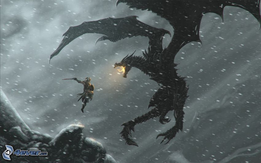 The Elder Scrolls Skyrim, dragon noir, guerrier