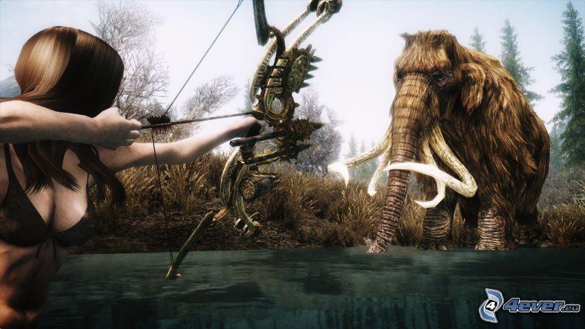 The Elder Scrolls Skyrim, mammouth, un archer