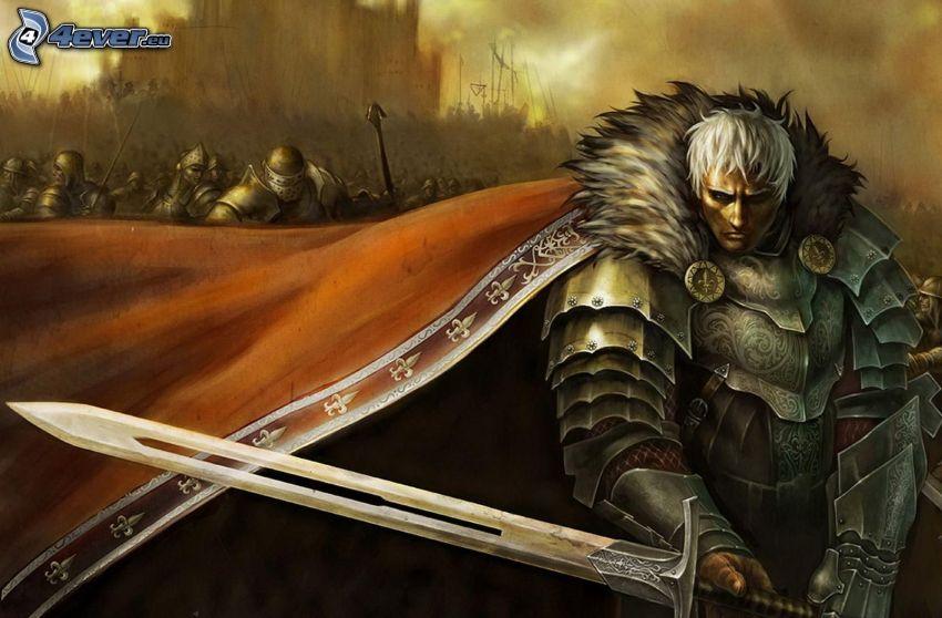 Warrior, homme, armure, épée