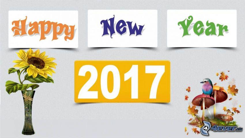 2017, heureuse nouvelle année, happy new year, tournesol, champignons, oiseau