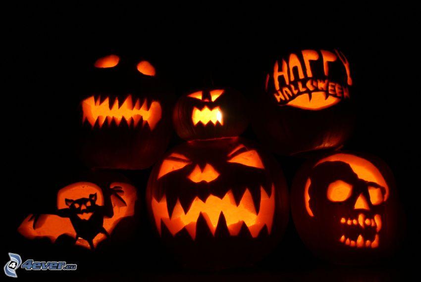 Citrouilles d'Halloween, jack-o'-lantern