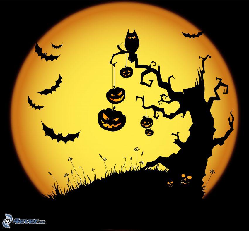 Halloween, arbre hanté, chauves-souris