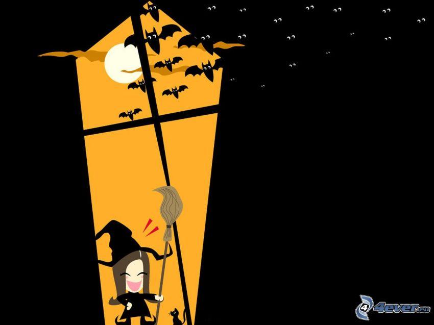 Halloween, sorcière, chauves-souris