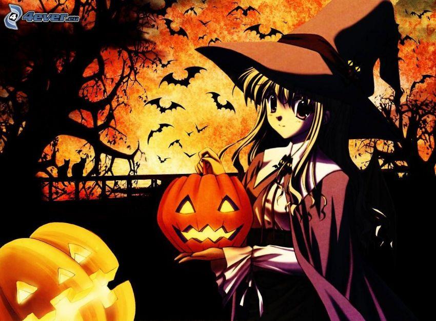 Halloween, sorcière, Citrouille d´Halloween