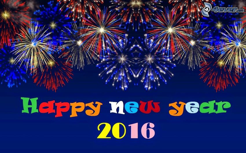 happy new year, 2016, feux d'artifice